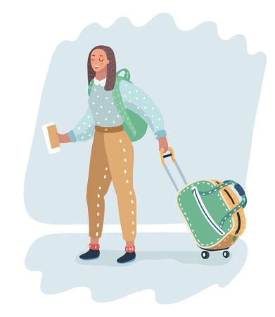 Vector cartoon illustration in modern concept. Female traveler carrying wheeled bag. Woman with ticket in her hand going to check out. Ilustração