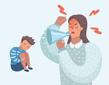 Vector cartoon illustration of little sad crying boy, cursing his beloved parents. Family quarrel. Angry mother. Wrong education, psychology.