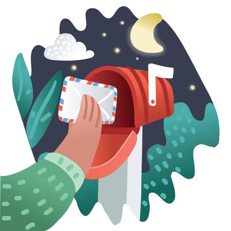 Wektor kreskówka czerwona skrzynka pocztowa wysłać list. Dostawa poczty z kopertą. Odbieranie lub wysyłanie poczty. Nocny post