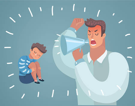Cartoon SVector Illustration of Father Scolding His Son. Angry Dad Yells at Little Scared Kid. Childrens psychological problems Illustration