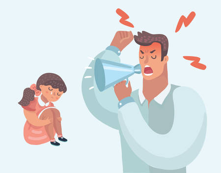 Strict father lecturing their daughter for bad behavior at home. Father screaming in megaphone. Parenting. Angry tyrant man and sad girl. Vector cartoon illustration in modern concept. Stock Illustratie
