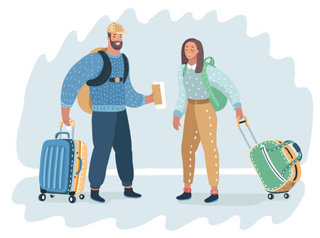 Stylish young man and woman are tourists carrying suitcases. Vector cartoon illustration in modern travel concept.