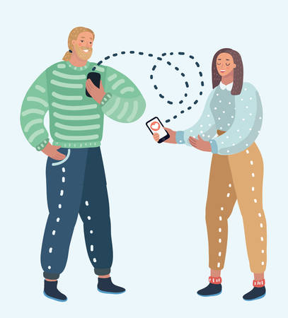 Vector cartoon illustration of online dating service, virtual communication and searching love in internet. Male and female character