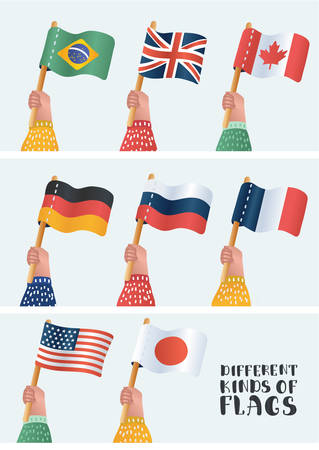 Set of national flags. Human hand holding flag of different countries. Vector cartoon illustration in modern concept Çizim
