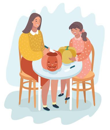 Una madre che insegna a sua figlia come intagliare una zucca per Halloween. La mamma e il suo bambino seduti sulle sedie. Illustrazione del fumetto di vettore nel concetto moderno