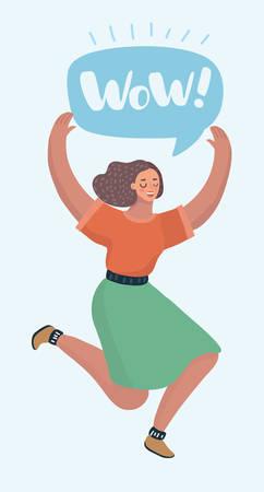Vektorkarikatur illustratio des Springens, das Erfolgserrungenschaft feiert oder überrascht. Sprechblase über ihr. Weiblicher moderner Charakter auf weißem Hintergrund.