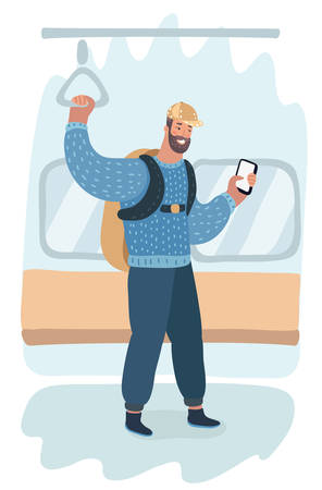 Vector cartoon illustration of man with backpack standing in subway, using phone, smartphone.