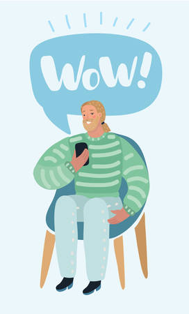 Vector cartoon illustration of Man Talking on a Mobile or reading message or using app Sitting on a Chair. Human modern characters on white background. Stock Illustratie