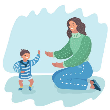 Vector cartoon illustration of cute funny happy baby boy making his first steps, mothersupporting by learning to walk. Human characters.