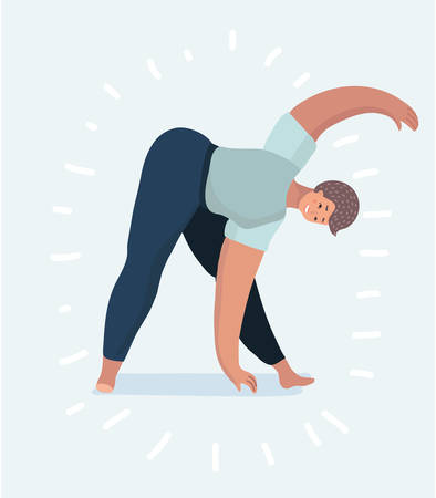 Young woman or girl is practicing yoga poses. Vector cartoon illustration in modern concept Vettoriali