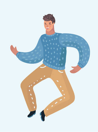 Happy teen guy dancing. This men is in happiness and celebrate triumph. Vector cartoon illustration in modern concept