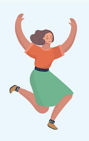 La giovane donna sorridente di positività sta saltando in aria con le mani in alto e ballando. Ragazza fortunata di successo molto bella o adolescente felice. Illustrazione del fumetto di vettore nel concetto moderno