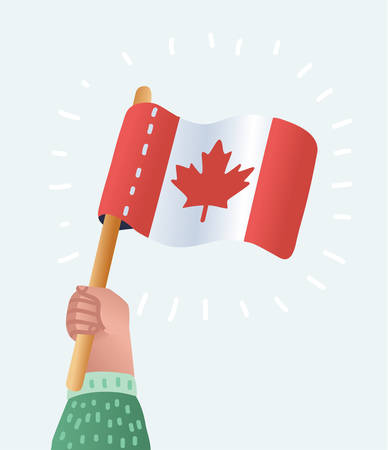 Vector cartoon illustration of canadian flag holding in hands. Canada Day. Vector illustration, Isolated hand with a Canadian flag in the background.