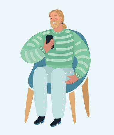 Bearded man. Smiling hipster making selfie on cell phone, sitting on chair. Guy with smartphone. Vector cartoon illustration in modern concept