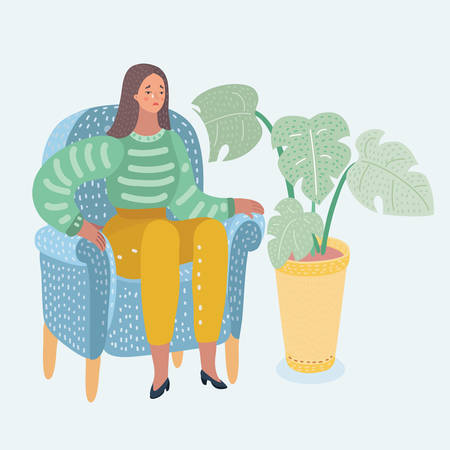 Vector cartoon woman crying sitting at chair. Unhappy female character suffering from frustration, grief. Isolated illustration on a white background. Mental illness. Modern famale character