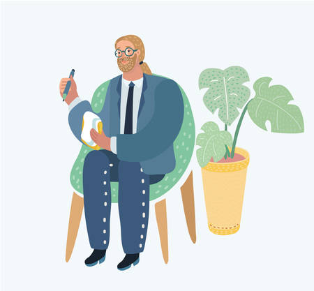 Vector cartoon illustration of style illustration of a man sitting on chair in the office. Profession: journalist, consultant, psychologist, psychiatrist, psychotherapist, analityc etc.