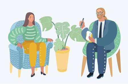Vector cartoon illustraron de concept avec spécialiste et client avec son problème. Consultation et diagnostic. Personnages humains modernes sur fond blanc.