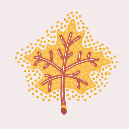 Vector cartoon illustration of yellow red Mapple fallen Leaf fared, yellow. Autumn Modern graphic concept.