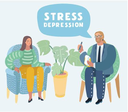 Ilustracja kreskówka wektor psychoterapii. Kobieta w depresji i mężczyzna psycholog z metaforą splątanego i niesplątanego mózgu, koncepcja psychiatrii społeczeństwa, koncepcja psychiatrii społeczeństwa. Ilustracje wektorowe
