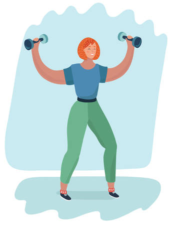 Vector illustration of a cartoon redhead girl holding a dumbbell in her hand.