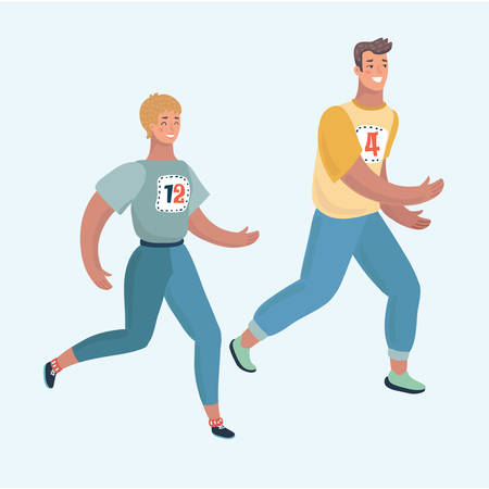 Cheerful caucasian couple running together. Man and woman are runners or joggers. They practicing a jogging. Vector cartoon illustration in modern concept 向量圖像
