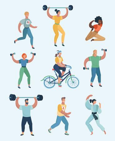 Grupo de personas practicando ejercicios de diferentes tipos de deporte. Conjunto, de, seres humanos, hacer, sports., Vector, caricatura, ilustración, en, moderno, concepto Ilustración de vector