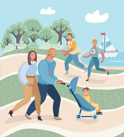 Beautiful young happy couple with baby boy resting in park outdoors. Parents with their child in baby-carriage walking on the nature. Man and woman running or jogging. Vector cartoon illustration in modern concept Ilustração