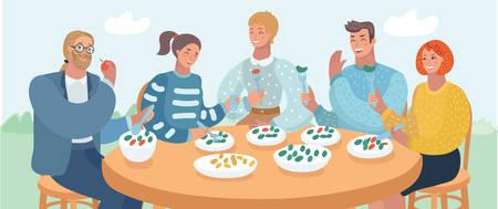 Vektor-Cartoon-Illustration einer Gruppe junger Freunde, die an einem Tisch in einem Café sitzen und im Freien zu Mittag essen. Vektorgrafik