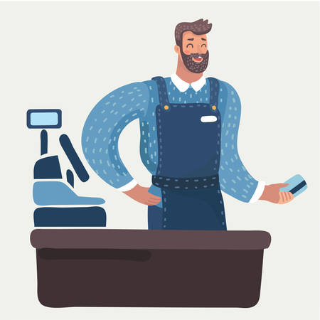 Vector cartoon illustration of cashier man hold credit plastic card in him hand. Modern male characters on white background.