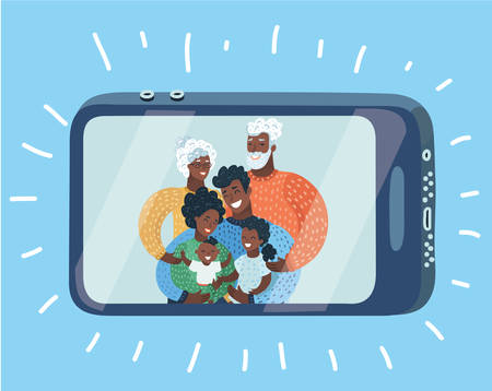 Vector cartoon illustation of Happy afroamerican, black family taking self portrait with smartphone during Christmas at home. Video call chat.