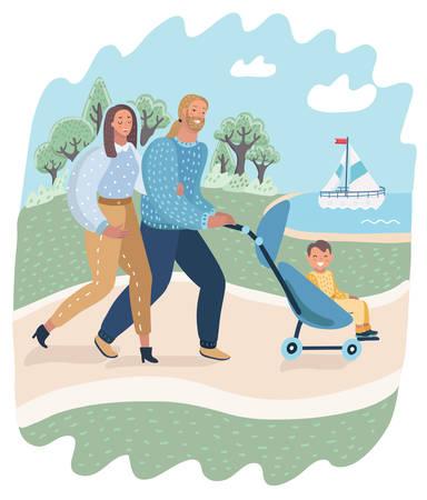 Pareja familiar y niño en cochecito caminando en el parque. Madre y padre con niño en cochecito al aire libre en la naturaleza. Padres con su bebé en cochecito. Ilustración de dibujos animados de vector en concepto moderno