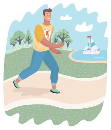Active healthy runner or jogger is running outdoor on the nature. Guy practicing sport in the park. Vector cartoon illustration in modern concept Illustration
