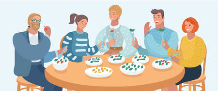 Vector cartoon illustration of group people are eating, talking and smiling while having lunch in cafe. Friends, family or Colleagues. Human characters on white bakckground.