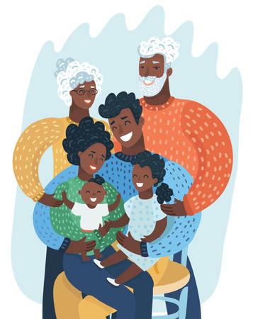 Multi generation black family. Happy African-American. Vector cartoon illustration in modern concept