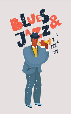 Vector cartoon illustration of Colorful Sax black player. Blues and Jazz hand drawn lettering on white background.