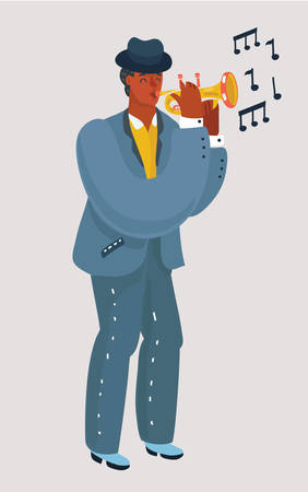 Vector cartoon illustration of Trumpet player with a trumpet or pipe stands on a white background. Black man in suit and hat playing a musical instrument.
