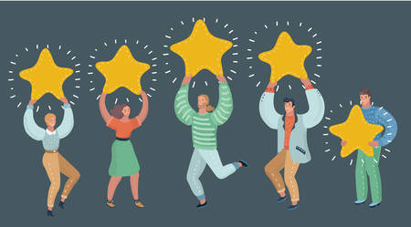 Vector cartoon illustration of Concept of Feedback consumer or customer review evaluation, satisfaction level and critic. Five stars rating style. People are holding. Human character on dark background. Vektorgrafik