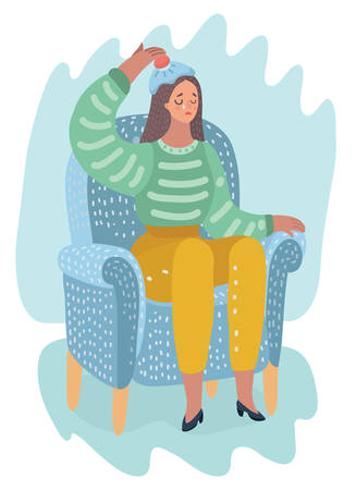 Vector cartoon illustration of woman holds an ice pack at her forehead. Sitting at armchair. Female character gets sick or have migraine. Illustration