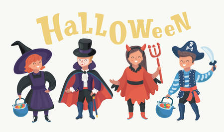 Happy brothers and two sisters on Halloween. Funny kids in carnival costumes indoors. Cheerful children play with pumpkins and candy. Halloween lettering above. Kids characters on white background.