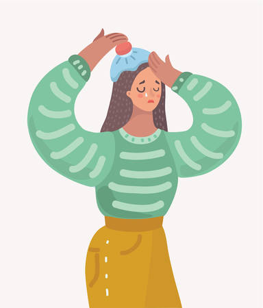 Vector cartoon illustration of Young woman with headache. Ice pach on head. Cry sad female charcter on white isolated background.