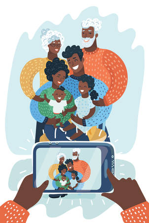 Group portrait of happy african american multi generation family. Black family taking selfie with smartphone. They take a photo on phone. Vector cartoon illustration in modern concept