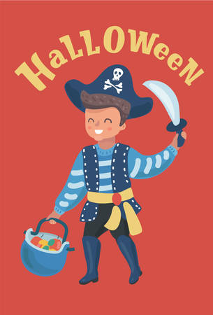 Little boy dressed up as a pirate in hat. Kid holding a sword and basket. with fruits. Halloween. Vector cartoon illustration in modern concept