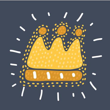 Vector cartoon fun illustration of childlike drawing of golden crown on dark bakcground. Hand drawn sketch concept. Vektorové ilustrace