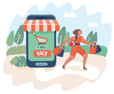 Ilustración de dibujos animados de vector del concepto de consumismo y compras en línea. Ventas de negocios electrónicos de concepto web. La mujer sale de la tienda con las compras. Mercado de teléfonos inteligentes.