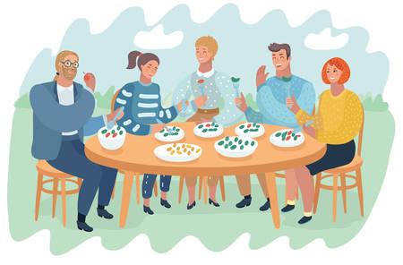 Illustrationsvektor von Freunden, die Spaß haben und Essen und Trinken bei Grillgartenparty mit Tisch im Freien essen.