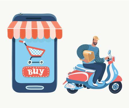 Compra en internet, entrega, soporte y añadir a bolsa o cesta. Comprar con smartphone en tienda online. Ilustración de dibujos animados de vector en concepto moderno