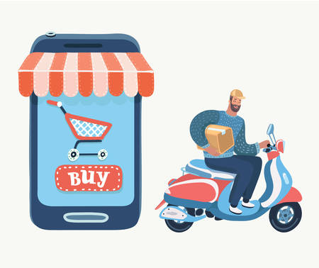 Winkelen op internet, bezorgen, support en toevoegen aan tas of winkelmandje. Kopen met behulp van smartphone in online winkel. Vectorbeeldverhaalillustratie in modern concept