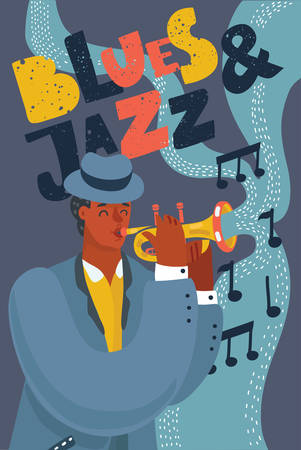 Jazz or blues musician playing music on trumpet. Black man wearing blue suit and hat. Vector cartoon illustration of poster in modern concept Vectores