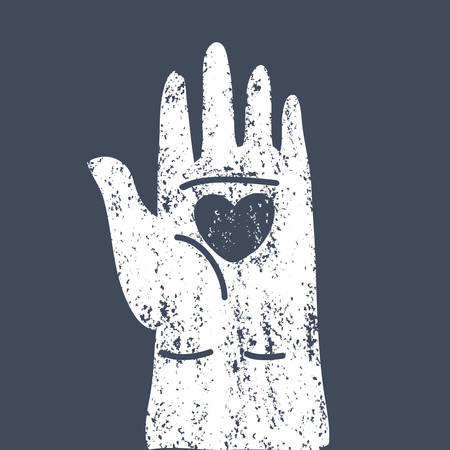 Vector cartoon illustation of Heart in open human palms. Black vintage concept isolated on a dark background. For poster and card. Vettoriali