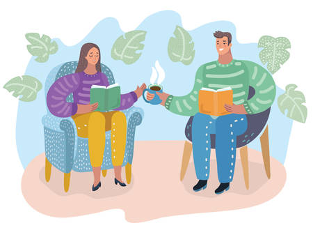 Illustration vectorielle de dessin animé d'un homme et d'une femme assis sur une chaise, lisant des livres et buvant du thé, des gens en librairie ou à la maison. Ambiance chaleureuse.